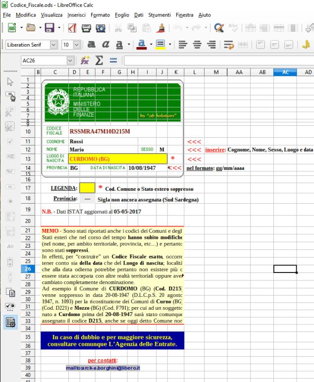 il calcolatore del codice fiscale