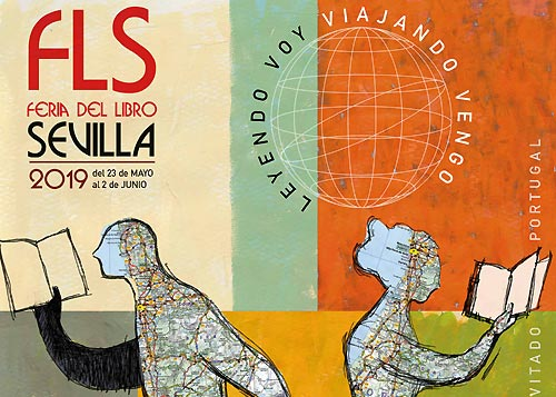 Manuel Ortiz firma el cartel de la Feria del Libro de Sevilla 2019
