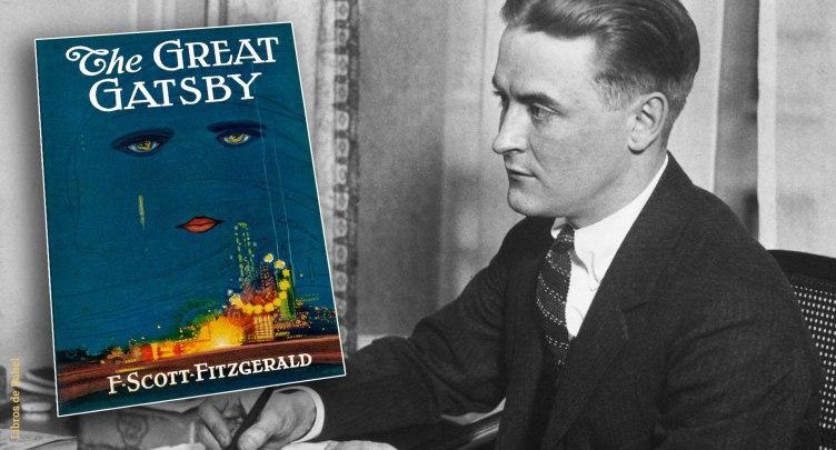 F. Scott Fitzgerald junto a la portada original de El gran Gatsby