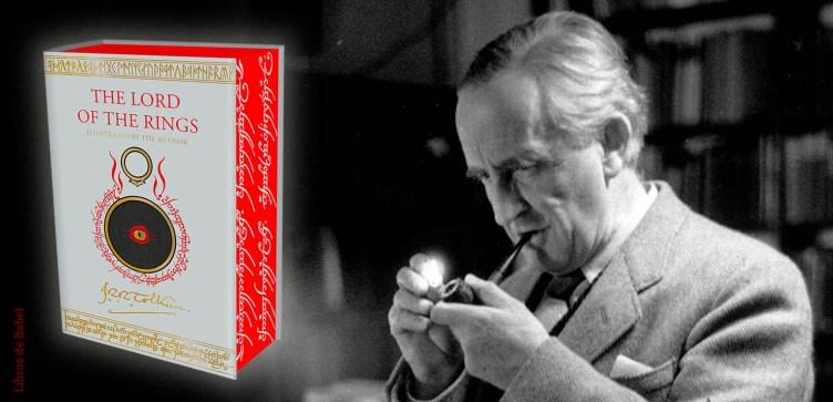A la izquierda la portada de la nueva edición de El Señor de los Anillos, a la derecha Tolkien fumando en pipa