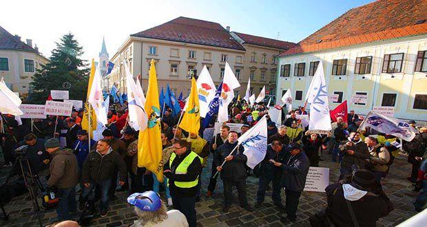 Prosvjed sindikalisti Zagreb