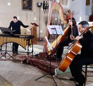 VibraHarpTrio is Fabrizio D'Antonio on vibraphone, Maria Chiara Fiorucci on harp and Ivo Scarponi on cello