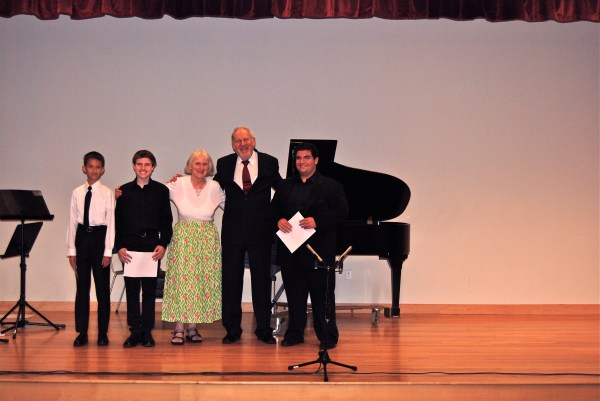 On Sunday, June 9, 2013 at LICA's 41st Anniversary Concert held at the South Huntington Public Library, the winners of the Arline Diamond Memorial Award received their awards and had their music performed. The recipients, who were selected at the May 31st student concert, are shown here with LICA's President and Vice President. From L to R, Steven Holmquist , Scott Feiner, Vice President Marga Richter, President Herbert Deutsch. And Adam Goldberg. A 4th young composer was unable to attend, but her composition was performed by a professional pianist.