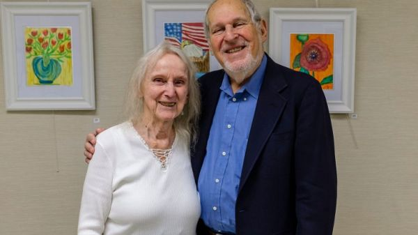 Marga Richter, left, and Herbert Deutsch, founders of the Long Island Composers Alliance, after a concert at the East Meadow Public Library presented by the group on Nov. 25. Photo Credit: Jeff Bachner for Newsday