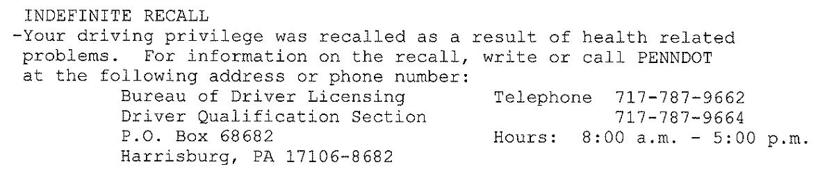 indefinite recall suspension license restoration services inc