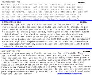 PA Restoration Fee