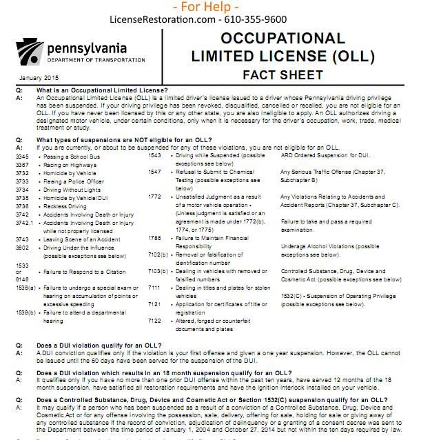 OLL – Work License – Bread & Butter – Fact Sheet