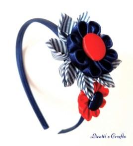 Diadema kanzashi doble flor marino
