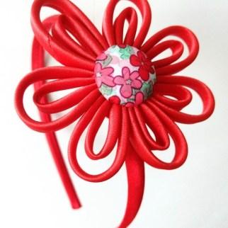 diadema estampado flores roja