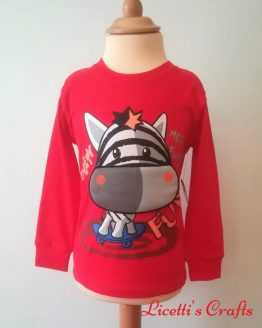 Camiseta manga larga algodón pima cebra roja