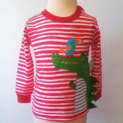 camiseta bebé manga larga cocodrilo rojo