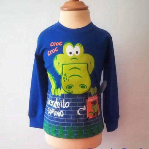 Camiseta manga larga cocodrilo azul