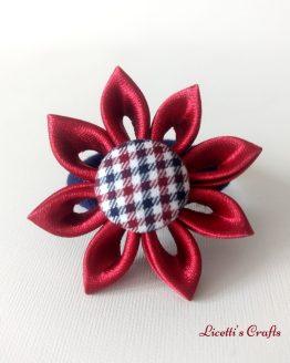Detalle flor coletero o goma hecho a mano granate