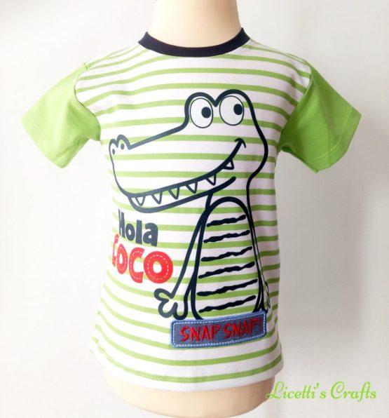 Camiseta cocodrilo con púas en la espalda de algodón pima en verde y azul