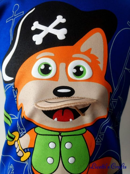 Zoon zorro pirata en relieve para camiseta