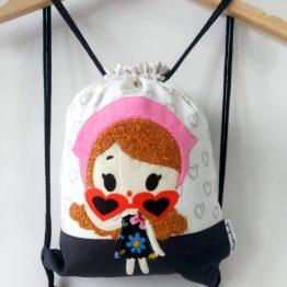 mochila cuerdas muñeca corazones kawaii