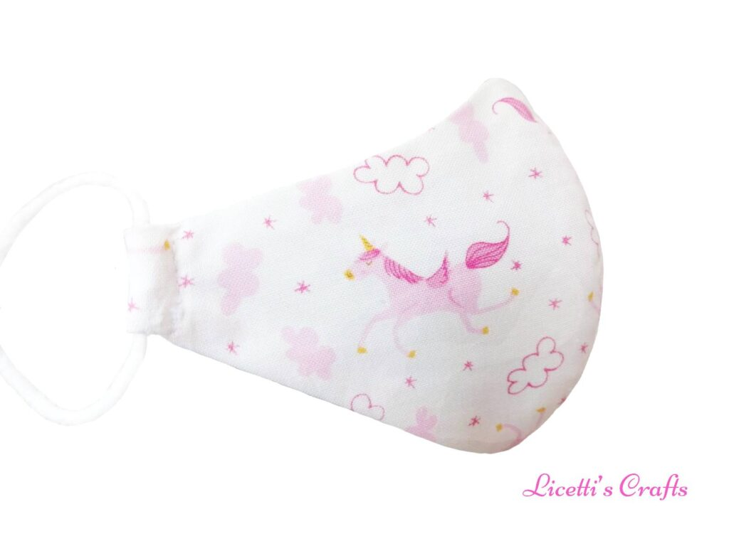 mascarilla higiénica infantil unicornio rosa