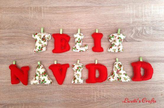 letras con relleno guirnalda feliz navidad