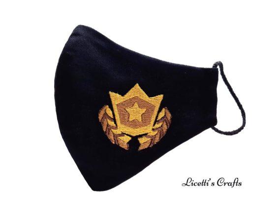 mascarilla fortnite bordada medalla