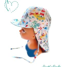 gorro playa marinero reversible azul