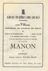1956-57 - G. Teatro del Liceo - Temporada de invierno - Ultima representació el 15/11/1956-Manon
