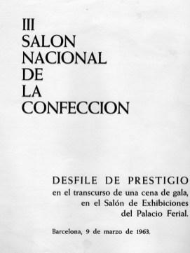 1963 - III Salon Nacional de la Confeccion-desfile de prestigio-ballet de: las prendas de lluvia, punto y sport, prendas de piel-ballet del traje-prendas de abrigo-prendas de etiqueta
