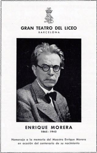 1966 - Gran Teatro del Liceo - Homejaje al Maestro Enrique Morera en su centeneario - portada