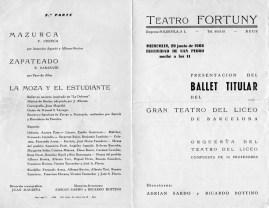 1966 - Teatro Fortuny de Reus - programa : 3ª parte-mazurca-la moza y el estudiante