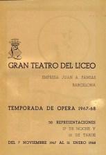 1967 - Gran Teatro del Liceo - temporada de opera