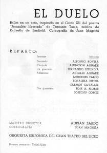 1967 - Gran Teatro del Liceo - temporada de opera - reparto-el duelo