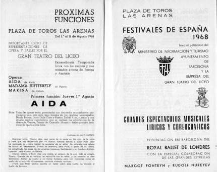1968 - Plaza de Toros las Arenas - Festivales de España - próximas funciones-aida-madama butterfly-marina
