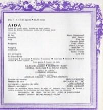 1968 - Plaza de Toros las Arenas - Festivales de España - repertorio AIDA