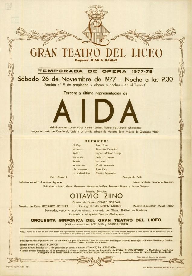 1977-11-26- Cartell del Liceu - AIDA