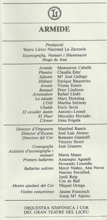 1986 - Teatro de la Zarzuela (Madrid)- ARMIDE
