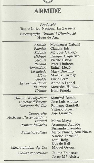 """1986 - """"Armide"""" - Teatro de la Zarzuela (Madrid)-"""