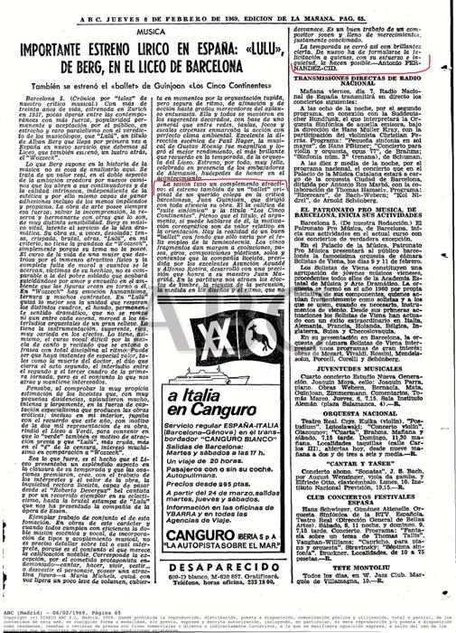 "1969-02-06-ABC Madrid-pag. 65-""Los Cinco Continentes""-Asunción Aguade, Alfonso Rovira, J. Magriñá"
