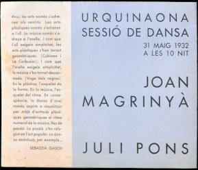 1932-05-31-Urquinaona-sessio de Dansa-sebastiá gasch-Magrinya-Grau Sala revers