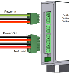 the device has three terminal strip connections the power in and power out connections are used in this application  [ 1422 x 714 Pixel ]