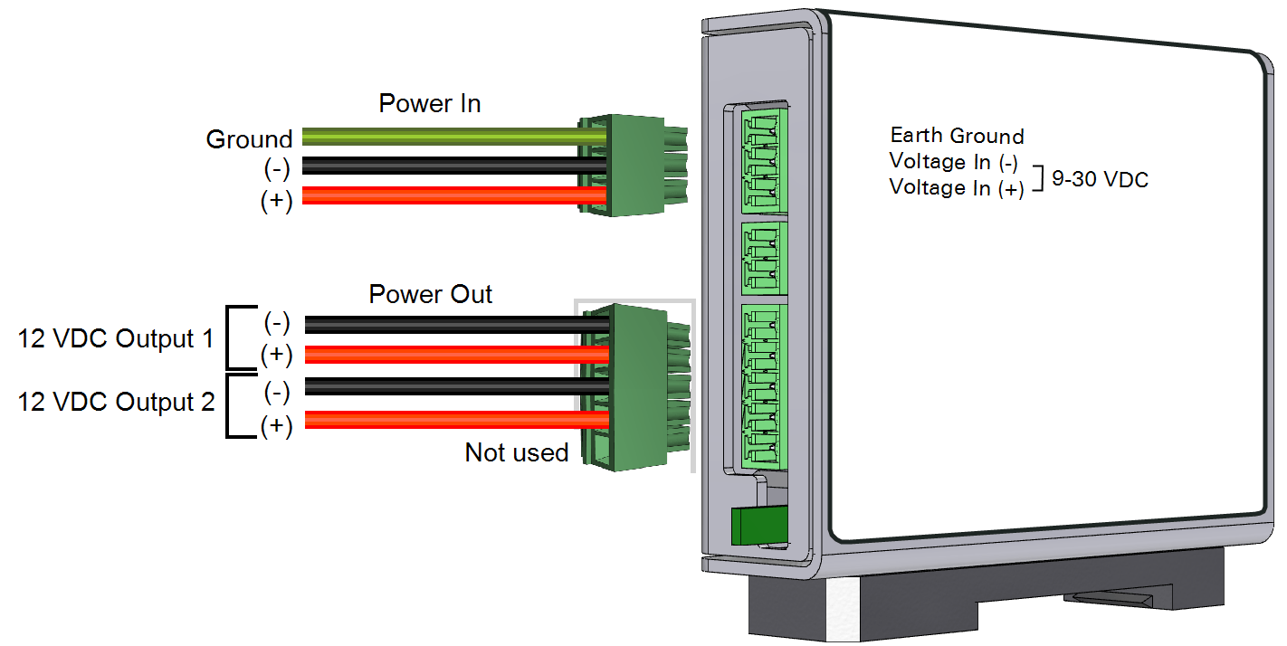 hight resolution of the device has three terminal strip connections the power in and power out connections are used in this application
