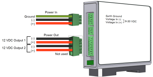 small resolution of the device has three terminal strip connections the power in and power out connections are used in this application