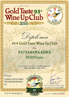 Patxaran Gaizka logra 93,69 puntos en la Guia Wine up 2016