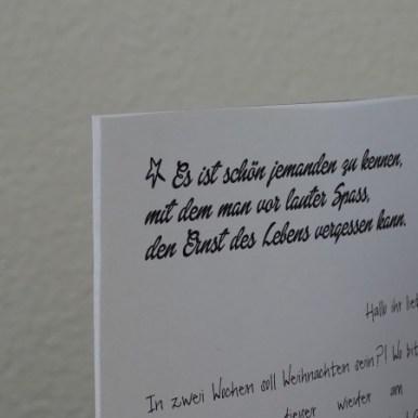 Meine Weihnachtsbriefe haben immer ein Zitat, Gedanke, Spruch dabei die zu uns passt.