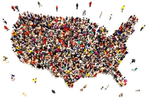 Large group of people forming the United States of America. Immigration, travel, visiting, refugee, integration concept.