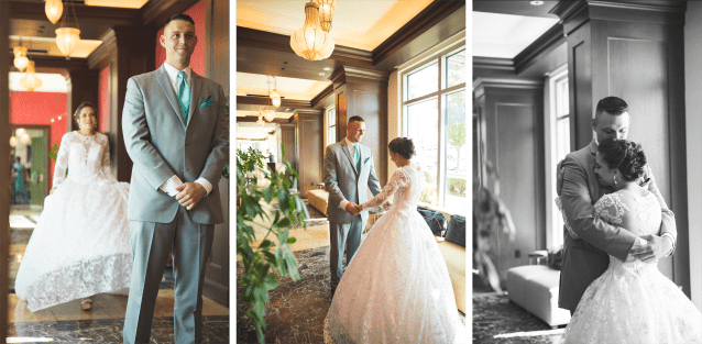 Collage of three pictures from first look with bride and groom
