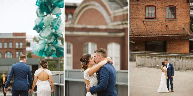 Three pictures of a bride and groom taking pictures in downtown Tacoma Washington