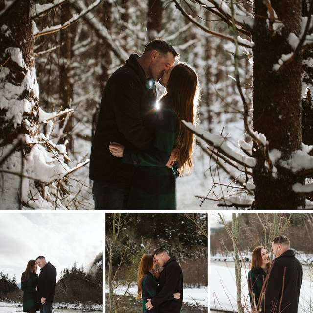 Four pictures of man and fiancee kissing and looking at each other in a snowy forest and river bank.