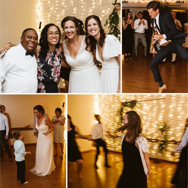 Collage of pictures from a wedding reception with people dancing.