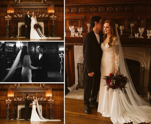 Collage of pictures of the bride and groom taking portraits in front of the Thornewood Castle fireplace.