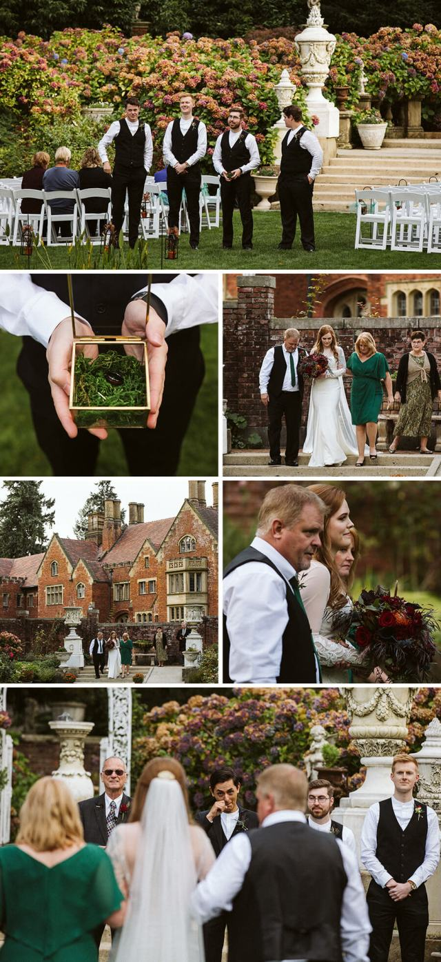 Collage of wedding ceremony pictures in the garden at Thornewood Castle.