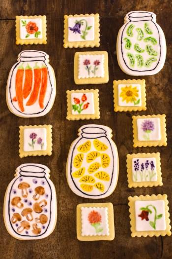 Bemalte Fondant Kekse mit Wasserfarben Effekt